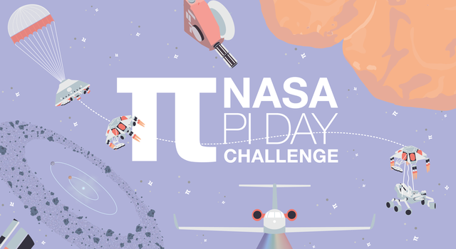 "Illustration of spacecraft on a light purple background that reads ""NASA Pi Day Challenge"""