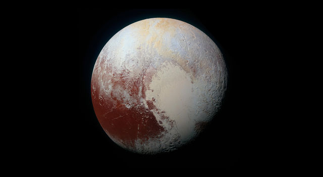 Enhanced color photograph of Pluto from NASA's New Horizons spacecraft