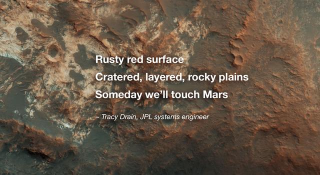 Image of Mars with a poem overlaid