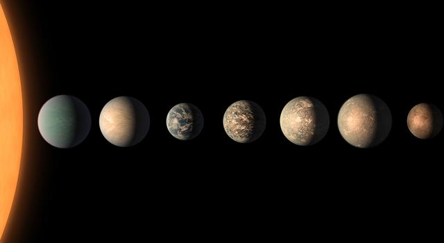 Illustration of the star TRAPPIST-1 and the seven rocky planets known to orbit it.