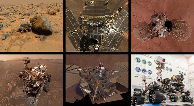 Collage of rovers and landers on Mars and the Perseverance rover in the cleanroom at JPL