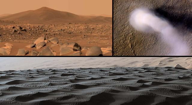 Collage of images from Mars showing a rocky terrain filled with boulders, a sand dune with large ripples, and column of dust traveling across a flat red terrain and casting a dark shadow.
