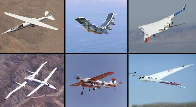 NASA airplane designs with different wing shapes