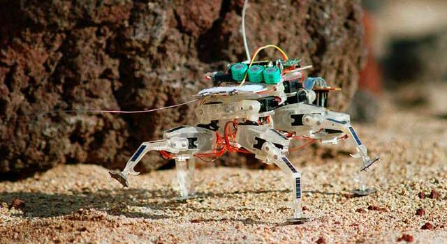 A tiny clear plastic robot with colorful wires jutting out of it walks over sandy terrain.