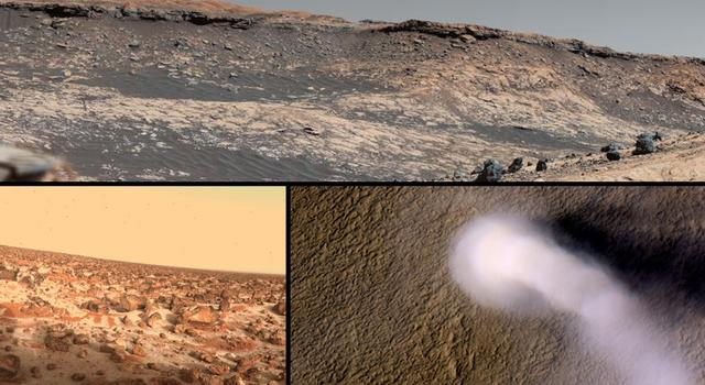 A collage of images of Mars shows a rocky, hilly landscape, an overhead view of a dust devil moving across brown plains, and a rock-filled slope with patches of white frost.