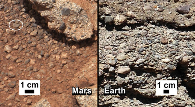 Side-by-side images of rounded rocks in an outcropping on Mars and Earth