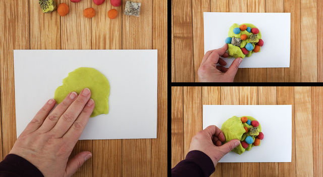 Collage of images showing a person starting with one color of play dough, adding chunks of various colors with pepper mixed in and covering everything with the base color