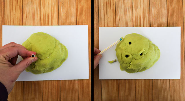 Side-by-side images showing a person placing a straw into their play dough rock and the rock cores removed and sitting next to the rock.
