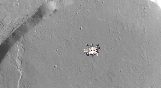Screengrab of the Mars rover sprite on top of a Mars surface image