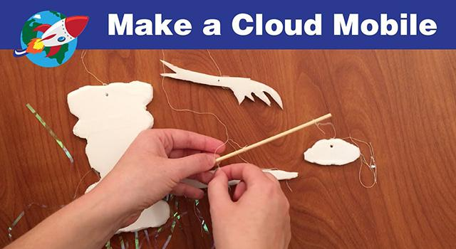 Photo of someone assembling the cloud mobile from NASA Space Place