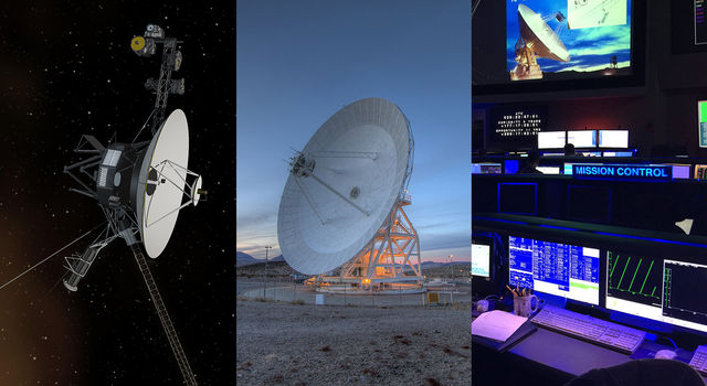Three panel image showing an artist concept of the Voyager spacecraft, a photograph of the 70-meter antenna in Goldstone, California and the mission control center at NASA's Jet Propulsion Laboratory in Pasadena, California