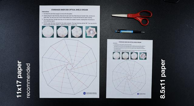 Image showing the materials for the Starshade origami activity