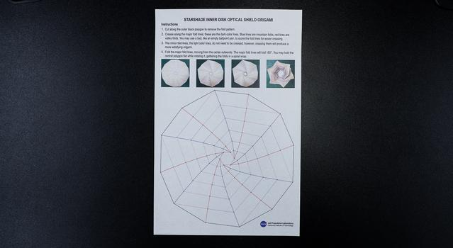 Photograph showing an 11x17 printout of the Starshade Template