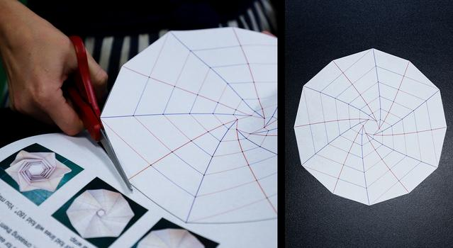 Side-by-side images of a person cutting out the Starshade Template and the completely cut out template