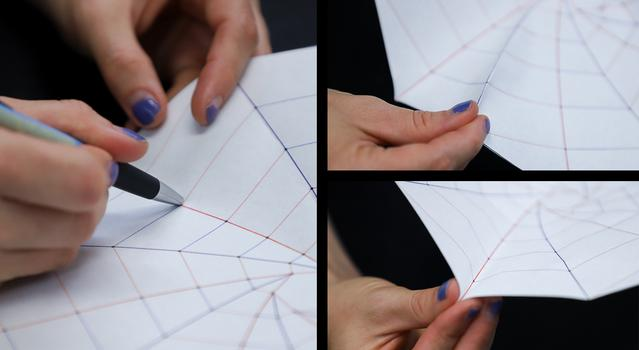 A series of images showing someone scoring the template with a ballpoint pen and folding the template according to the instructions