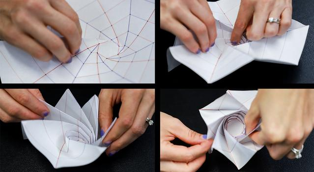 Series of images showing a person folding the Starshade template into a spiral shape