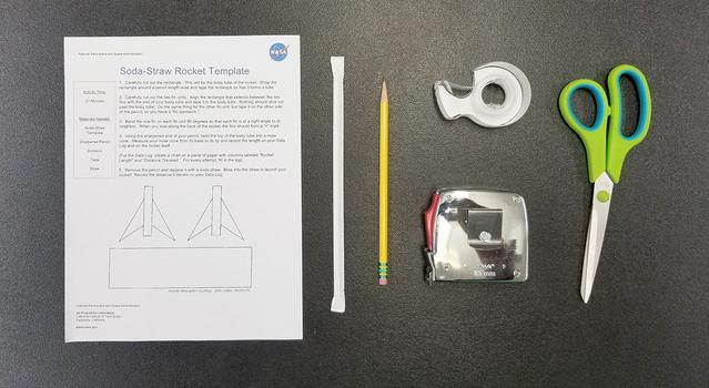 Image showing the materials for the straw rocket activity