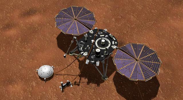 An artist's rendering of the InSight lander on Mars