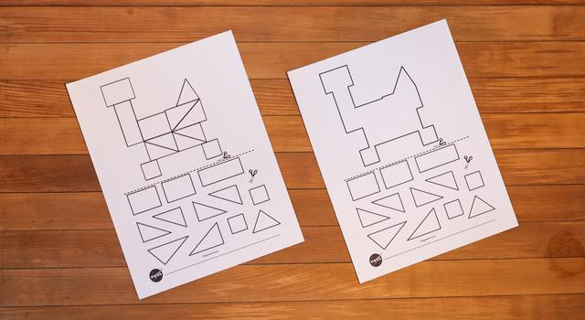 Two tangram rover templates printed out, one with interior lines and one without.