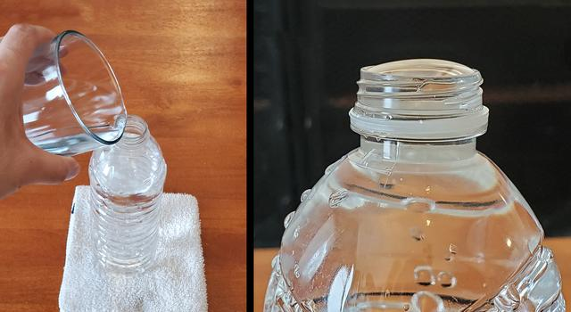 Side-by-side image showing water being poured into a water bottle and a close-up of the full water bottle