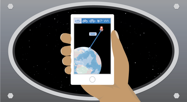 Graphic of a hand holding a smartphone with an image of a straight line drawn between Earth and Mars and different options for modes of travel.