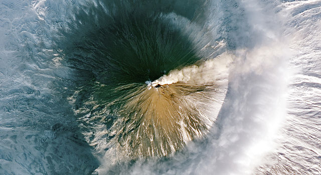 Satellite image of the Shiveluch volcano erupting.