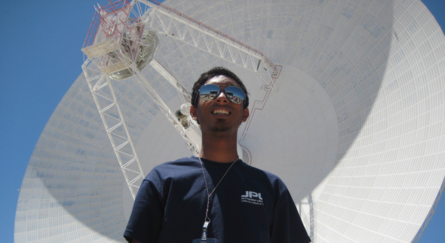 Deepak Atyam at the Goldstone Deep Space Network Facility