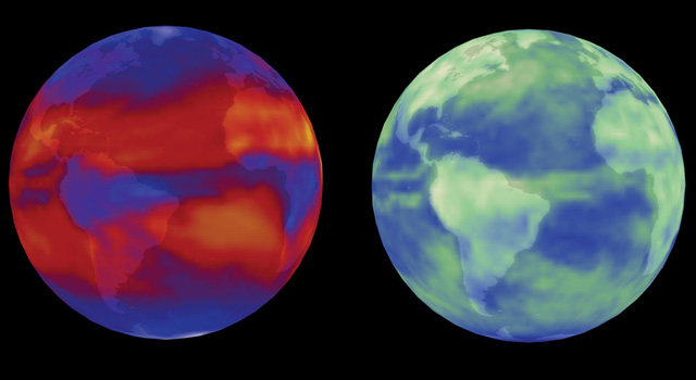 Two simulations of Earth with climate model overlays