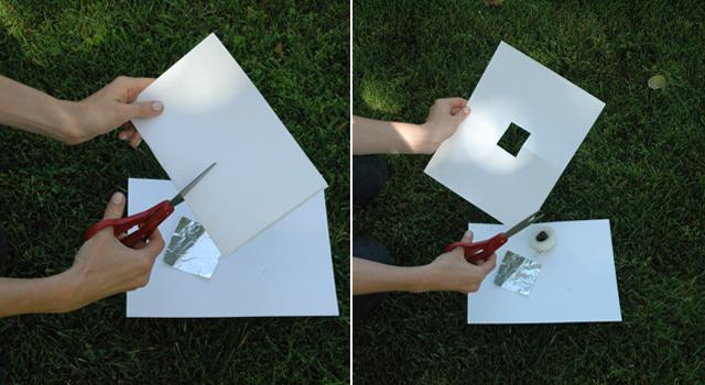 Step 1: Cut a square hole into the middle of one of your pieces of card stock.