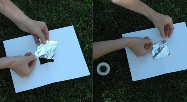 Step 2: Tape a piece of aluminum foil over the hole.