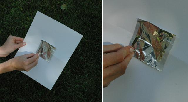 Step 3: Use your pin or paper clip to poke a small hole in the aluminum foil.