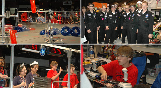Students compete at a FIRST robotics competition.