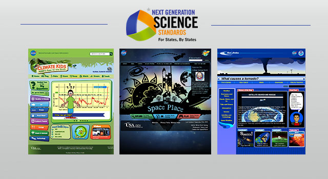 Graphic showing the Climate Kids, Space Place and SciJinks websites