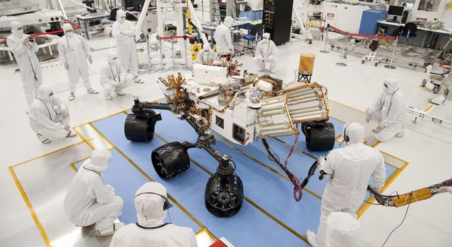 Curiosity in the clean room at JPL