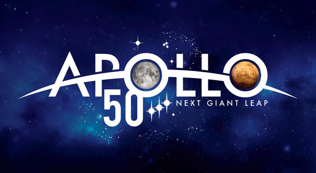 Blue starry background with type that reads Apollo 50 Next Giant Leap