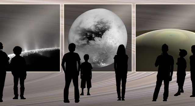 Photo montage of images from NASA's Cassini spacecraft and illustrations of people