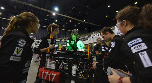 Students compete in the FIRST Robotics Los Angeles Regional competition