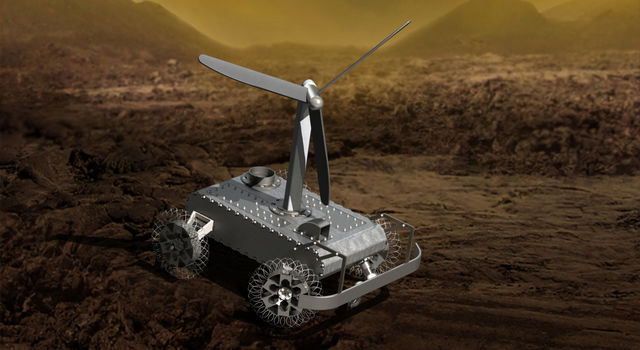 Artist's concept of a mechanical rover on Venus