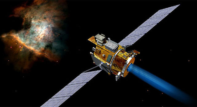 Graphic showing the Deep Space 1 spacecraft next to a nebula