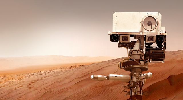 "Graphic of the Perseverance Mars Rover on the Red Planet with the text ""Countdown to Mars"" overlaid"