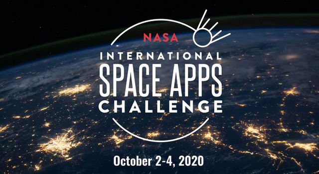 Space Apps Challenge logo against a backdrop of the Earth