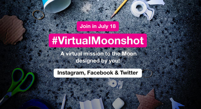 Scissors, pencils, tape, paper and other materials scattered around. Text overlay reads: Join in July 18, #VirtualMoonshot, A virtual mission to the Moon designed by you! Instagram, Facebook & Twitter