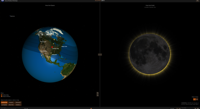Screengrab from NASA's Eyes - Eclipse 2017 visualization program