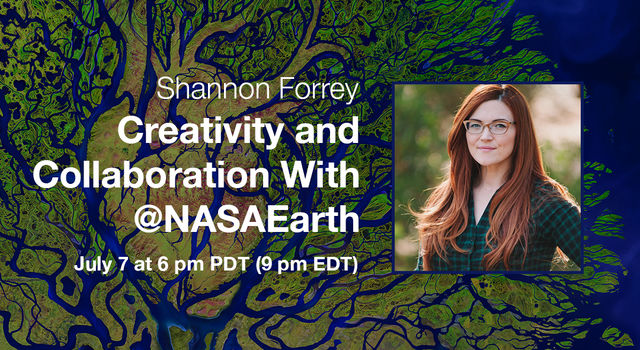 Portrait of Shannon Forrey overlaid on an artistic interpretation of an satellite image