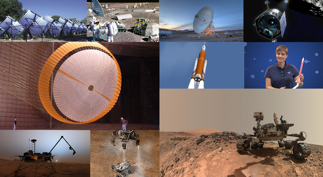 Collage of NASA rockets, spacecraft and technology