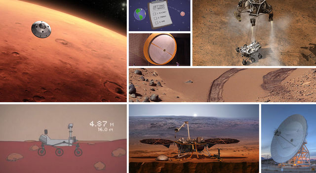 Collage of Mars and Mars mission images and illustrations