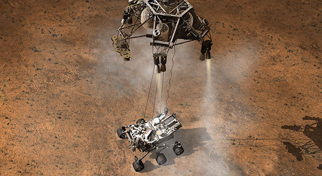 Artist's concept of the Curiosity rover landing on Mars
