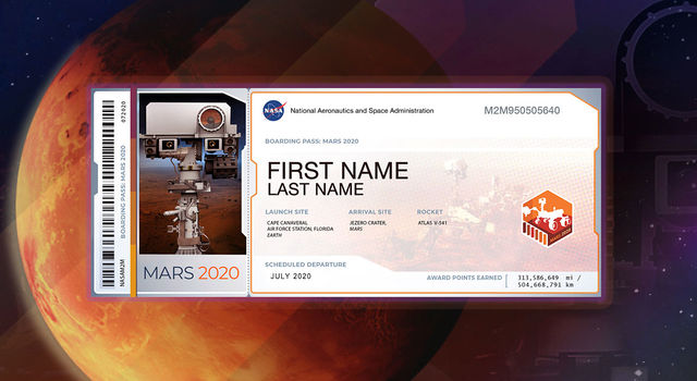 Graphic of Mars superimposed by a graphic of a boarding pass for Mars