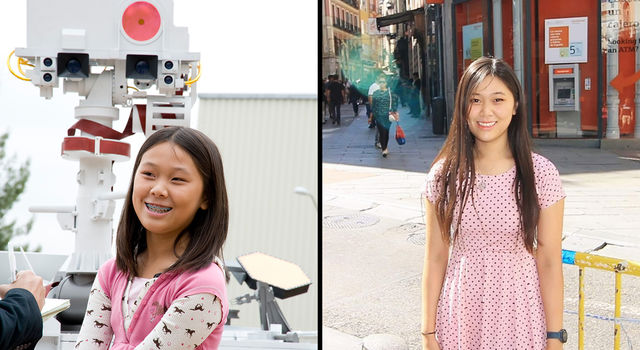 Side-by-side images of Clara Ma, wearing braces, in 2009 posing for a picture in front of a Curiosity rover model and Ma in 2019 posing for a photo in Europe