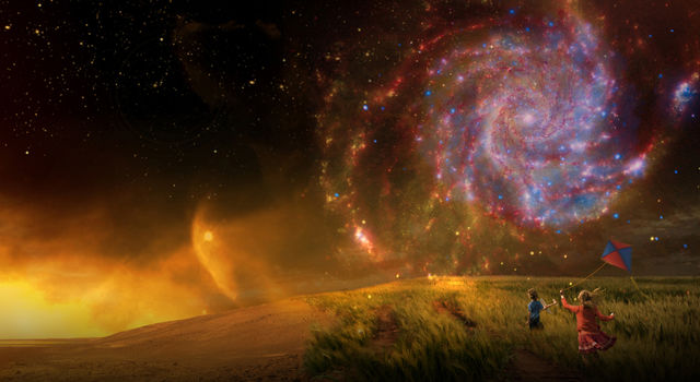 Artist's concept showing children on a beach with a spiral galaxy in the sky